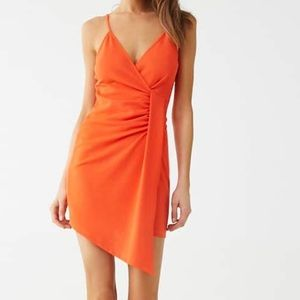 Tangerine Ruched Asymmetrical Dress